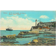 Cuba, Havana Morro Castle Pie de Castillo, Steam Ship Postcard