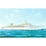 SS Oceanic Ocean Liner Cruise Ship Postcard Chrome 1960s