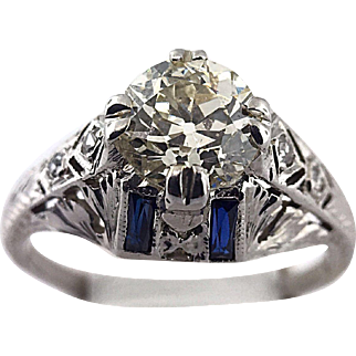 One Carat Diamond and Sapphire Vintage 18 Karat White Gold Engagement Ring