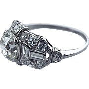 1.30 Carat Old European Cut Diamond Platinum Art Deco Engagement Ring