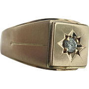 Men's / Ladies' Large Victorian Style Vintage 14K Gold Ring with Old Mine Cut Diamond