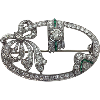 Edwardian / Art Deco Platinum Diamond Bow Brooch With Emeralds