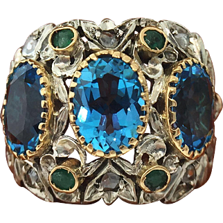 Vintage Filigree Mounted Blue Topaz 18K Sterling Ring With Rough Cut Diamonds and Emerald