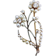 1940s Pearl and Diamond Flower Pin / Brooch