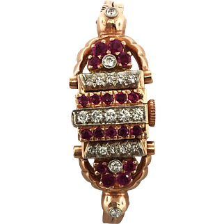1940s 14K Rose Gold, Ruby, and Diamond Bracelet Hidden Dress Watch