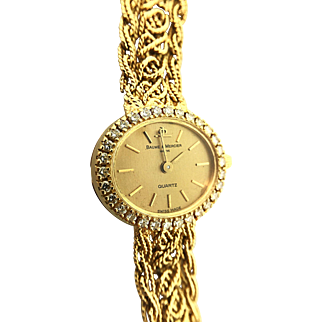 1970s Retro Baume & Mercier 18K Gold Watch Diamond Bezel
