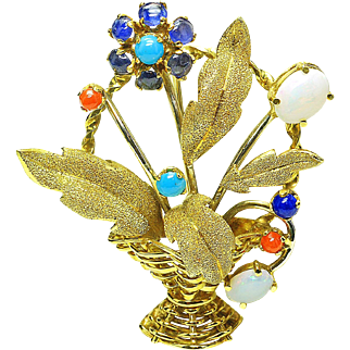 Vintage 18k yellow Gold Coral Turquoise Opal Sapphire large Italy basket Pin