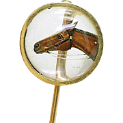 14k yellow gold Reverse Intaglio Essex Crystal Horse profile Stick Pin