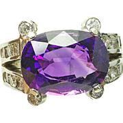 Vintage 14k White Gold Amethyst & 1.50 carat. VS-H Diamond Ladies Cocktail Ring tested and guaranteed 14k gold