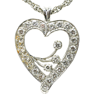 Vintage 1950's 14k White Gold & 1.25 SI-1 Round Diamond Openwork Heart Necklace w/chain