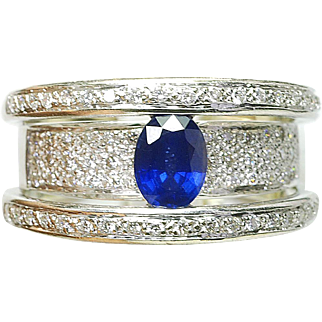 Modern 14k White Gold Natural Sapphire & 1/2ct Diamond Ladies Cocktail band Ring