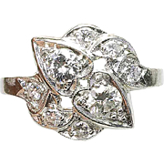 Vintage 1930's Art Deco Platinum & 3/4 carat Diamond ladies Cocktail ring Band