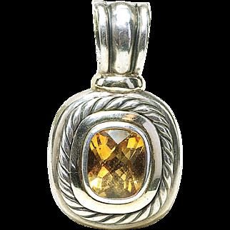 Vintage David Yurman Sterling Silver & 14k Gold Citrine Albion Enhancer Pendant