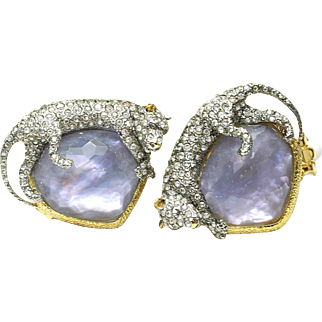 Estate Perfect Alexis Bittar Siyabona Crystal Panther & Iolite Clip On Earrings