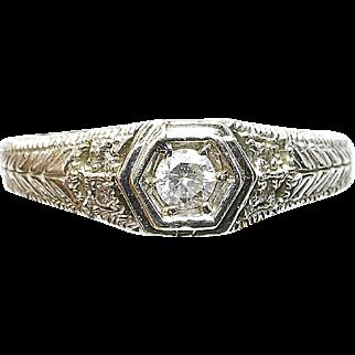 Vintage 14k white Gold Engagement .15ct. Diamond Filigree Ladies Wedding Ring