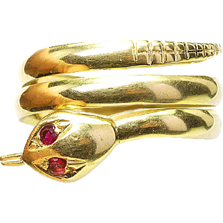 Vintage 18k Yellow Gold & Ruby Eyes Coiled Snake Ring Italy 1960's Size 6 & 1/2