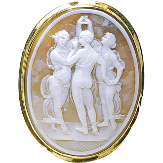 Vintage 1930's 14k solid yellow gold excellently carved 3 Fates Large Cameo pin