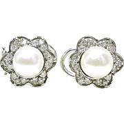 Estate 14k White Gold 1.05 Carat Diamond & Pearl ladies Cocktail Button Earrings