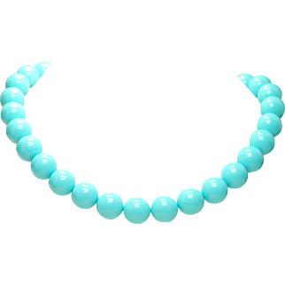 """Estate 18k Yellow Gold - 12mm Persian, Robin's Egg Turquoise 18.5"""" Bead Necklace"""