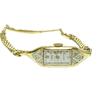 RARE 1940's 14k Gold & Diamond Head ladies Gruen Curvex Precision WristWatch