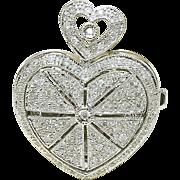 Modern 14k White Gold & 1/2ct Diamond ladies Heart LOCKET pendant 7.5 grams
