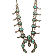 Native American Vintage Sterling Silver Turquoise SQUASH BLOSSOM necklace Heavy