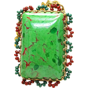 WOW Vintage MIRIAM HASKELL - Green Mottled red LARGE Pendant necklace w/ chain