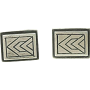Arts and Crafts Modernist Machine Age E Byrne Livingston Hand made Sterling Silver Cuff Links 1940's