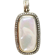 Estate Pre-Owned David Yurman sterling Silver and Mother Of Pearl .66 or 2/3rds Carat Diamond Enhancer Pendant