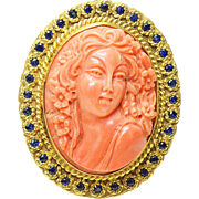 Vintage Italy 18k Yellow Gold Sapphire Carved Orange Coral Big Cameo Pendant Pin Tested solid 18k yellow gold