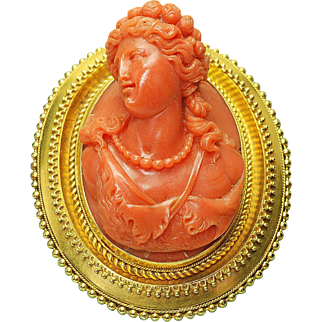 Antique Pre Victorian 14k yellow Gold High Relief Orange Coral Cameo Brooch circa 1880