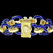 Vintage 18K yellow Gold & Blue Enamel ladies Sarcar Wrist watch 1970's