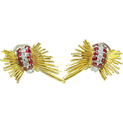 Vintage 18k yellow gold 2.00ct Ruby & 1.00ct VS-G Diamond Butterfly earrings 1960's chunky and collectible