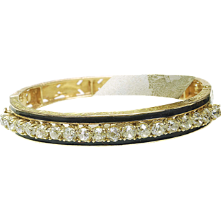 Vintage 14k Yellow Gold 6.50 - 7.00ct Mine Diamond Enamel Hand engraved Repousee' Ladies Bangle Bracelet