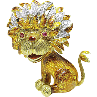 Vintage 18k yellow Gold VS-G 3/4ct. DIAMOND & Ruby- Cartoon LION Pin Brooch Italy Italian 1960's