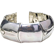 Vintage Estate JOHN HARDY .925 Sterling Silver Large Size Bamboo Cuff Kick bracelet 140.7 grams