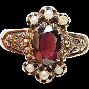 Antique VICTORIAN 14 carat pink Gold Garnet & Seed Pearl ladies ENGRAVED ring