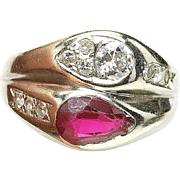 Vintage 14k White Gold .40ct diamond & Faux Ruby Men's Pinky ring 1930's unisex