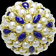 Vintage 18k Yellow Gold - Genuine cultured salt Water Pearl & Enamel Ladies cocktail ring Italian Italy