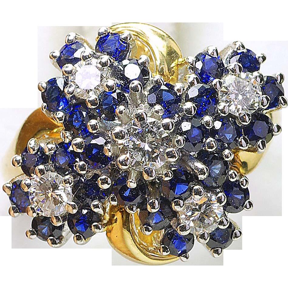 Vintage 14k Yellow Gold Designer stamped IDP - 1ct Sapphire & 1/2ct Diamond ladies 5 Cluster ring