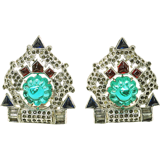 Early - Vintage 1930's KTF Trifari Alfred Philippe Jewel of India Emerald Fruit Salad Clips unsigned