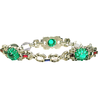 Vintage 1930's Guaranteed KTF Trifari Alfred Philippe Jewel of India Emerald Fruit Salad Bracelet unsigned