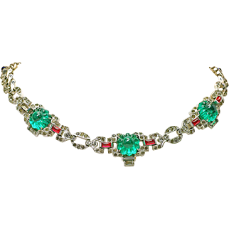 Vintage KTF Trifari Alfred Philippe Jewel of India Emerald Fruit Salad Necklace unsigned Non original clasp