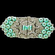 Vintage Rare 1930's KTF Trifari Art Deco Turquoise Circle donut Rhinestone Duette Brooch