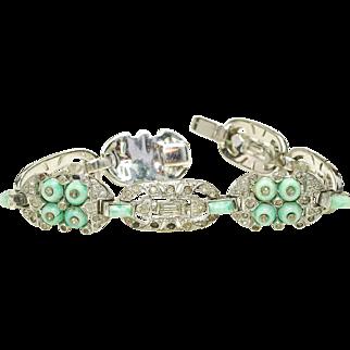 Rare 1930s KTF Trifari Deco Style Turquoise Circle donut Rhinestone bracelet Un signed