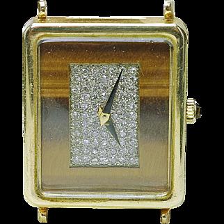 RARE 14k yellow Gold Universal Geneve Diamond & Tigers Eye Wrist Watch Wind up