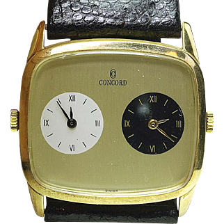 RARE New Old Stock 14k yellow Gold CONCORD Dual Time Zone Wrist Watch Wind up