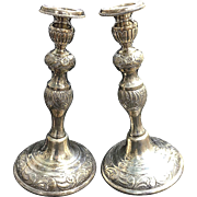 "Pair of Vintage 925 Solid Sterling Silver Non Weighed  11.5"" repousee' Candle Sticks Shabbat"