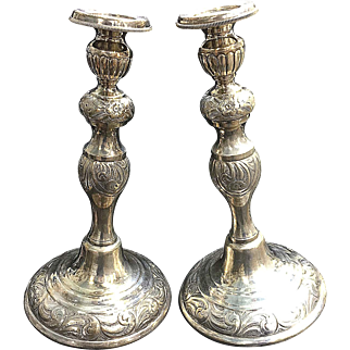 """Pair of Vintage 925 Solid Sterling Silver Non Weighed  11.5"""" repousee' Candle Sticks Shabbat"""