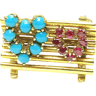 Vintage 18k Yellow Gold - Ruby & Turquoise heart Park Bench Pin brooch 1970's